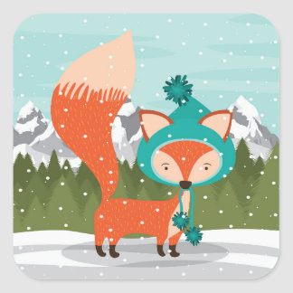 Christmas Fox In A Teal Hat Square Sticker