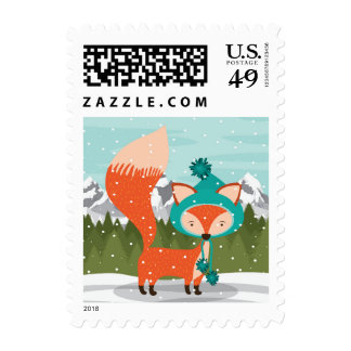 Christmas Fox In A Teal Hat Stamp