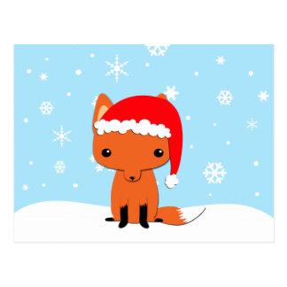 Christmas fox postcard