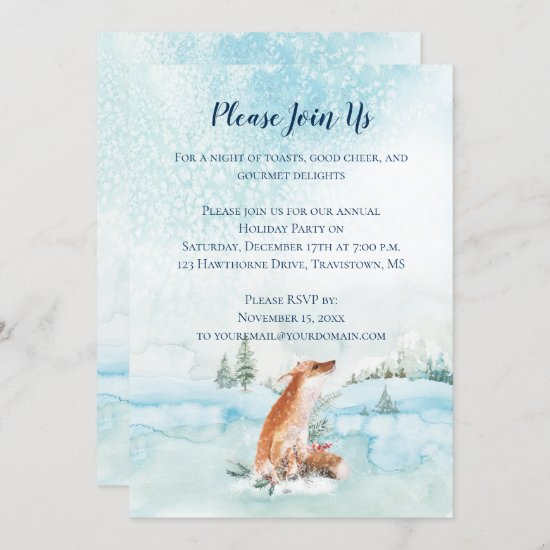 Christmas Fox Snow Landscape Fir Trees Invitation