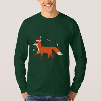 Christmas Fox with Santa Hat and Snowflakes T-Shirt