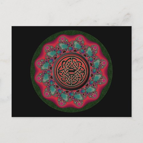 Christmas Fractal Black Metal Celtic Knot Postcard