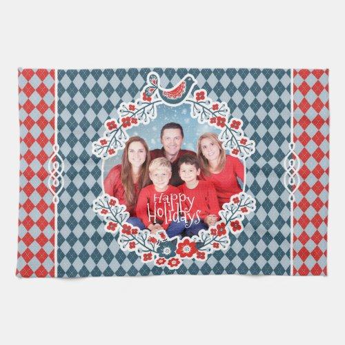 Christmas Frame Add Your Photo Winter Bird Wreath Hand Towel