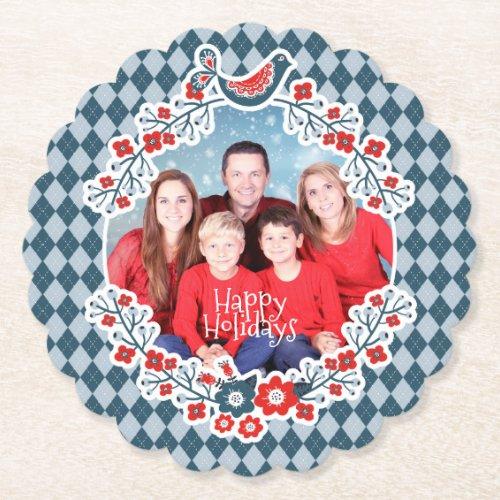Christmas Frame Add Your Photo Winter Bird Wreath Paper Coaster