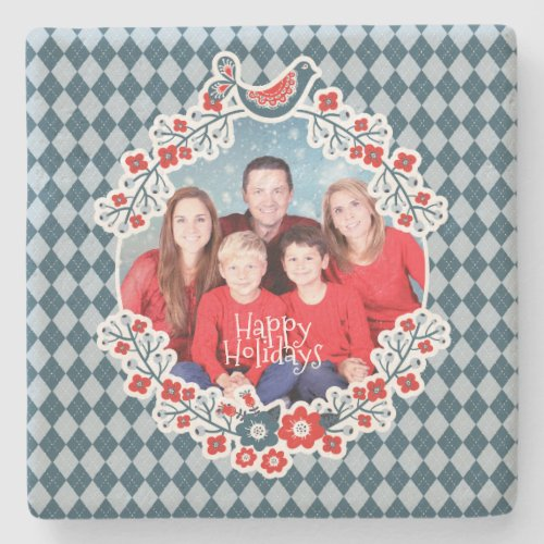 Christmas Frame Add Your Photo Winter Bird Wreath Stone Coaster