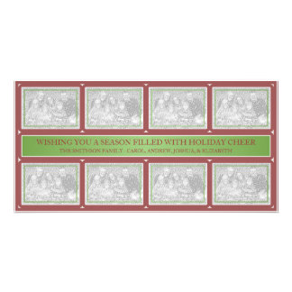 Christmas Frame Collage Green Red Custom Photo Card