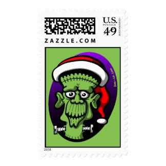 Christmas Frankenstein Postage Stamp