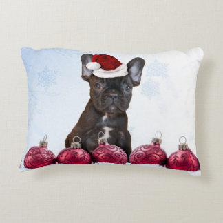 Christmas French Bulldog Accent Pillow
