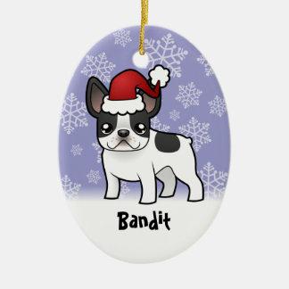 Christmas French Bulldog (add your pets name) Christmas Tree Ornament