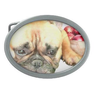 Christmas French Bulldog Oval Belt Buckle