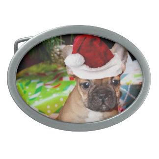 Christmas French Bulldog Oval Belt Buckles