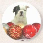 Christmas French Bulldog Beverage Coaster