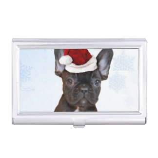 Christmas French Bulldog Case For Business Cards