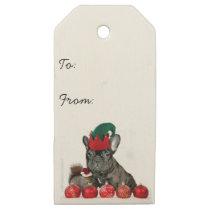 Christmas French Bulldog dog wooden gift tags