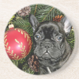 Christmas French Bulldog Drink Coaster