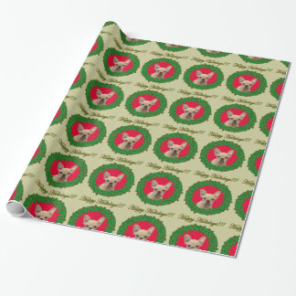 Christmas French Bulldog green wrapping paper