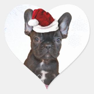 Christmas French Bulldog Heart Sticker