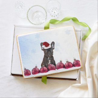 Christmas French Bulldog Jumbo Shortbread Cookie