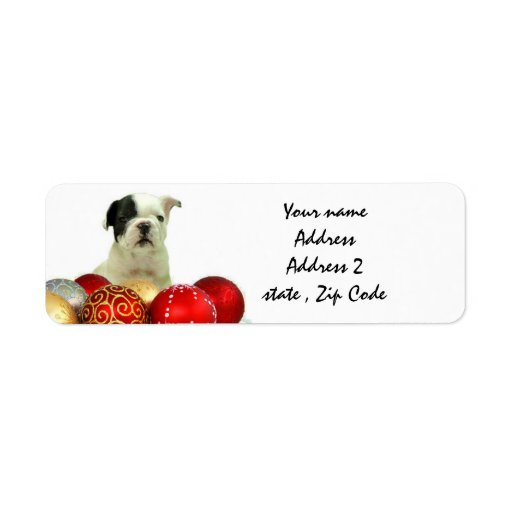 Christmas French Bulldog Custom Return Address Labels