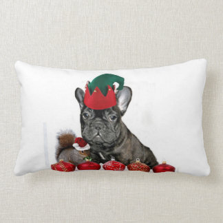 Christmas French Bulldog Lumbar Pillow