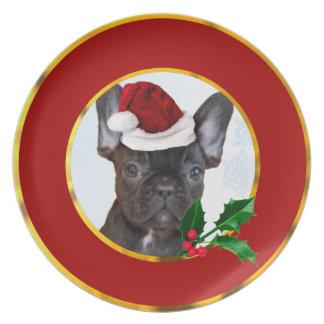 Christmas French Bulldog Melamine Plate