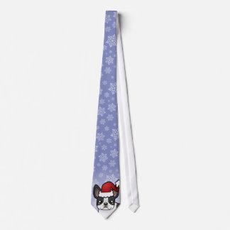 Christmas French Bulldog Neck Tie