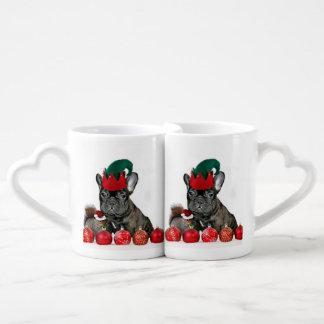 Christmas French Bulldog Couples' Coffee Mug Set