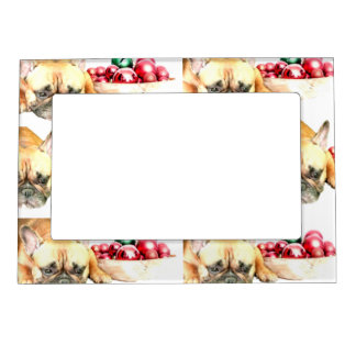 Christmas French Bulldog Picture Frame Magnet