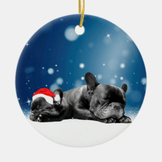 Christmas French Bulldog Puppies snow santa hat Ceramic Ornament