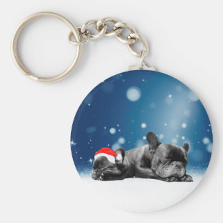Christmas French Bulldog Puppies snow santa hat Keychain