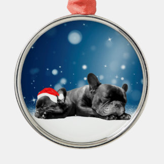 Christmas French Bulldog Puppies snow santa hat Metal Ornament