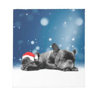 Christmas French Bulldog Puppies snow santa hat Notepad
