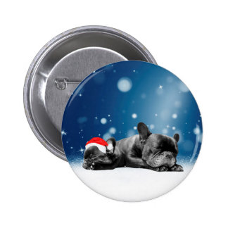Christmas French Bulldog Puppies snow santa hat Pinback Button