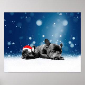 Christmas French Bulldog Puppies snow santa hat Poster