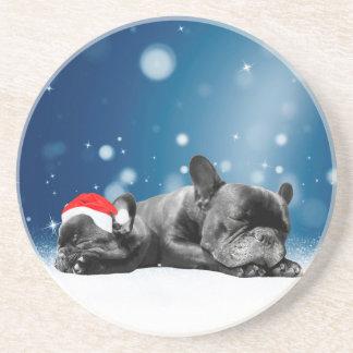 Christmas French Bulldog Puppies snow santa hat Sandstone Coaster