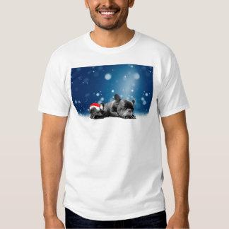 Christmas French Bulldog Puppies snow santa hat T-Shirt
