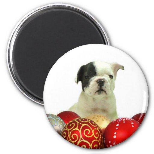 Christmas French Bulldog puppy 2 Inch Round Magnet
