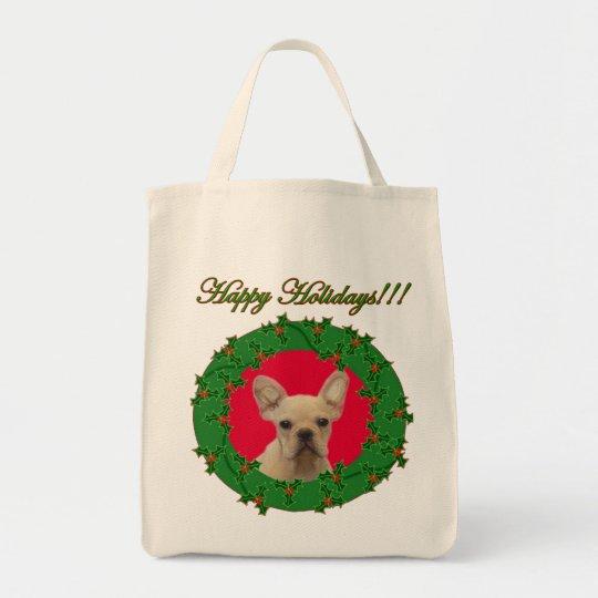 Christmas French bulldog puppy Tote Bag