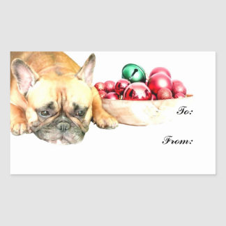 Christmas French Bulldog Rectangle Stickers