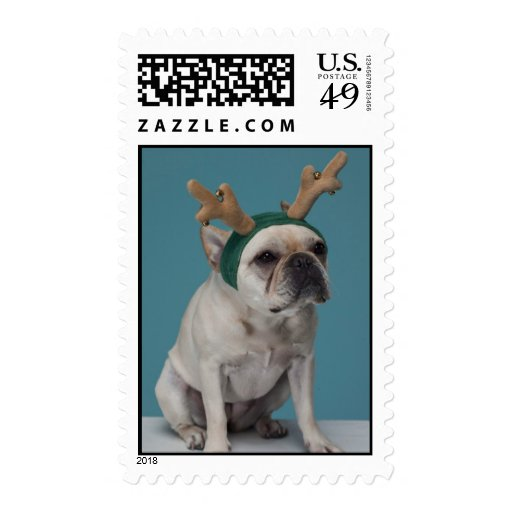 Christmas French Bulldog Reindeer Stamp