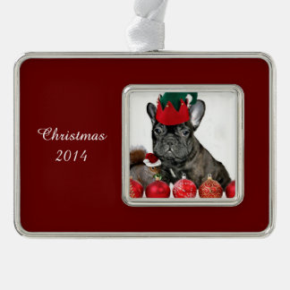 Christmas French Bulldog Silver Plated Framed Ornament