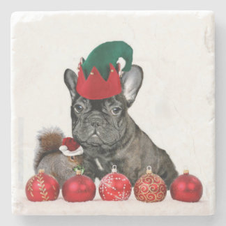 Christmas French Bulldog Stone Coaster