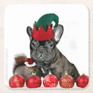 Christmas French Bulldog Square Paper Coaster