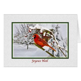 Christmas, French, Cardinal Bird, Snow, Card