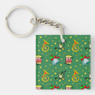 Christmas, French Horns and Magenta Drums Double-Sided Square Acrylic Keychain