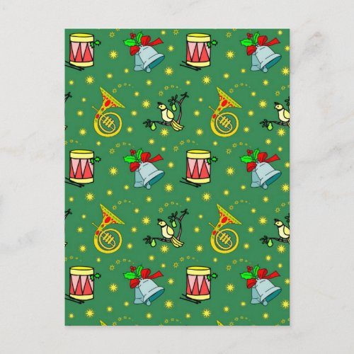 Christmas, French Horns and Magenta Drums Holiday Postcard