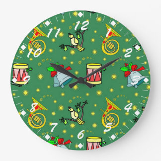 Christmas, French Horns and Magenta Drums Large Clock