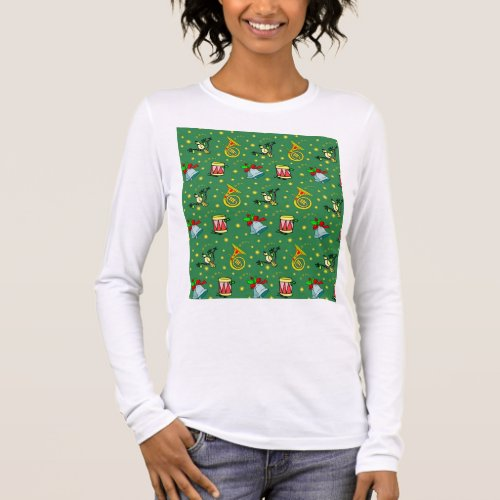 Christmas, French Horns and Magenta Drums Long Sleeve T-Shirt