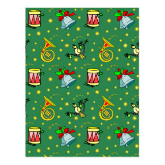 Christmas, French Horns and Magenta Drums Postcard