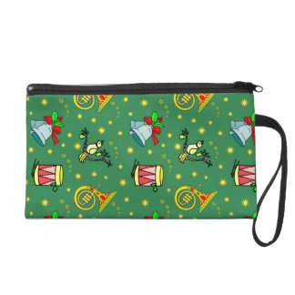 Christmas, French Horns and Magenta Drums Wristlet Purse
